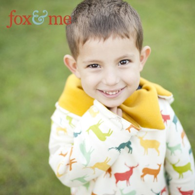 Dear My Kids - Cowl Neck Pullover Jacket, Birch Fabrics - Elk Family Multi
